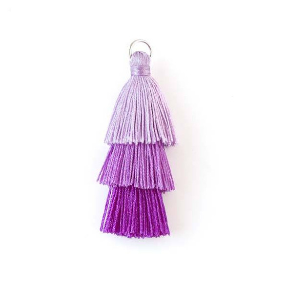 """Purple Ombre 3 Layered 2"""" Nylon Tassels with a 7mm Silver Jump Ring - 2 per bag"""