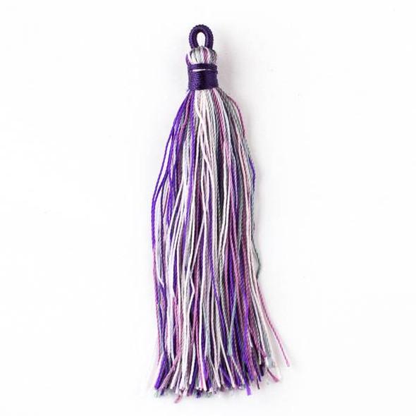 """Multicolor Amethyst 3"""" Nylon Tassels - 2 per bag"""