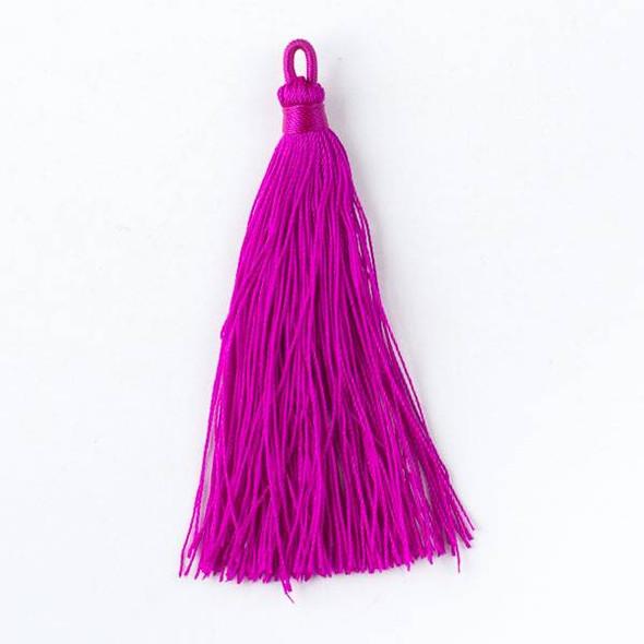 "Magenta Pink 3"" Nylon Tassels - 2 per bag"