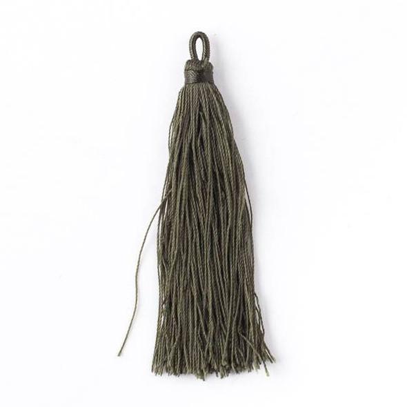 "Olive Green 3"" Nylon Tassels - 2 per bag"
