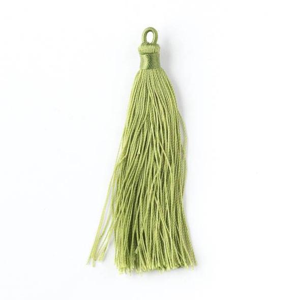 """Peridot Green 3"""" Nylon Tassels - 2 per bag"""