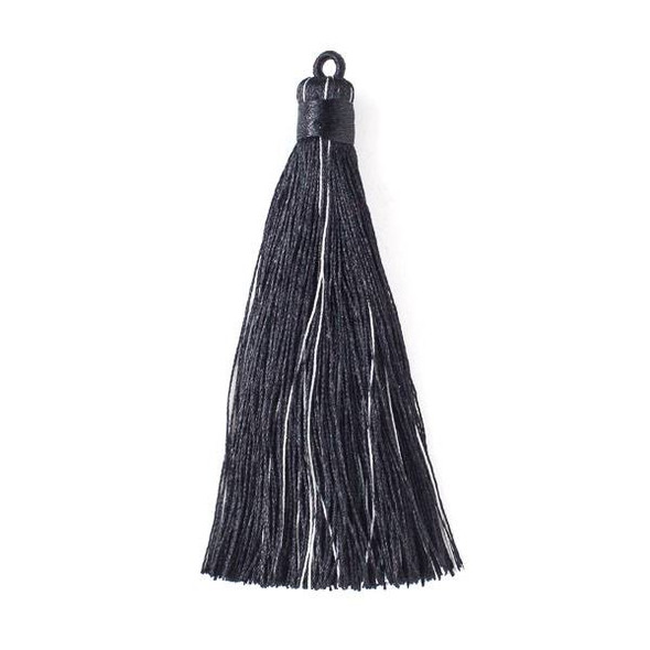 "Multicolor Black Tourmaline or Onyx 4"" Nylon Tassels - 2 per bag"