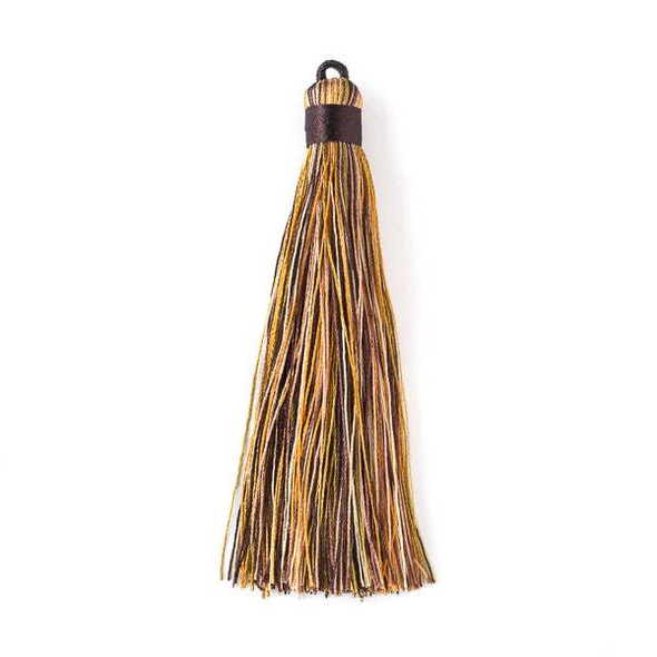 "Multicolor Yellow Tigereye 4"" Nylon Tassels - 2 per bag"
