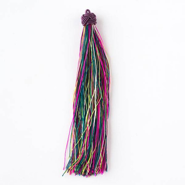 "Multicolor Mardi Gras 5"" Nylon Tassels - 2 per bag"