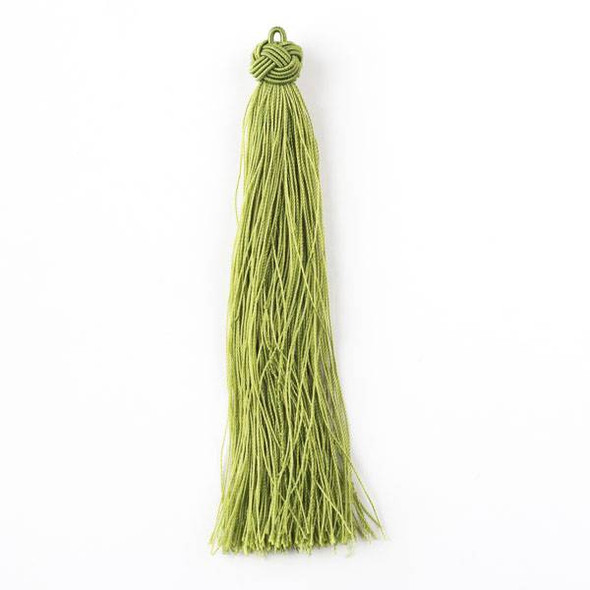 "Peridot Green 5"" Nylon Tassels - 2 per bag"