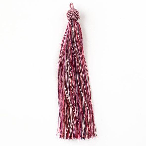 "Multicolor Wineberry 5"" Nylon Tassels with a Pink Top - 2 per bag"