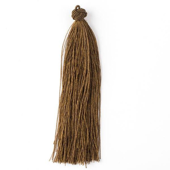 "Woodland Brown 5"" Nylon Tassels - 2 per bag"