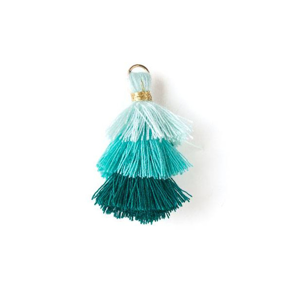 """Aqua and Turquoise Ombre 3 Layered 1.5"""" Nylon Tassels with a 6mm Gold Jump Ring - 2 per bag, tass7-01"""