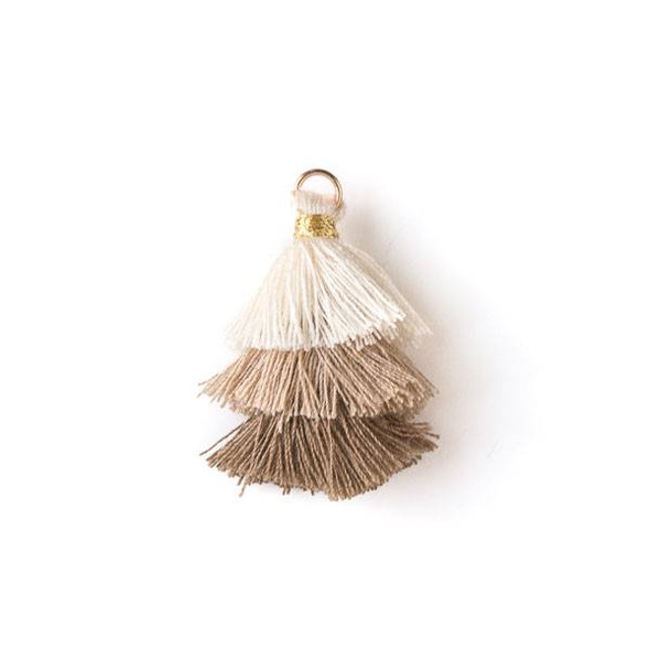 "Natural Brown Ombre 3 Layered 1.5"" Nylon Tassels with a 6mm Gold Jump Ring - 2 per bag, tass7-02"