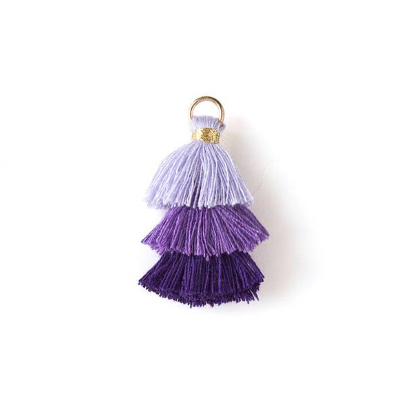 """Purple Ombre 3 Layered 1.5"""" Nylon Tassels with a 6mm Gold Jump Ring - 2 per bag, tass7-04"""