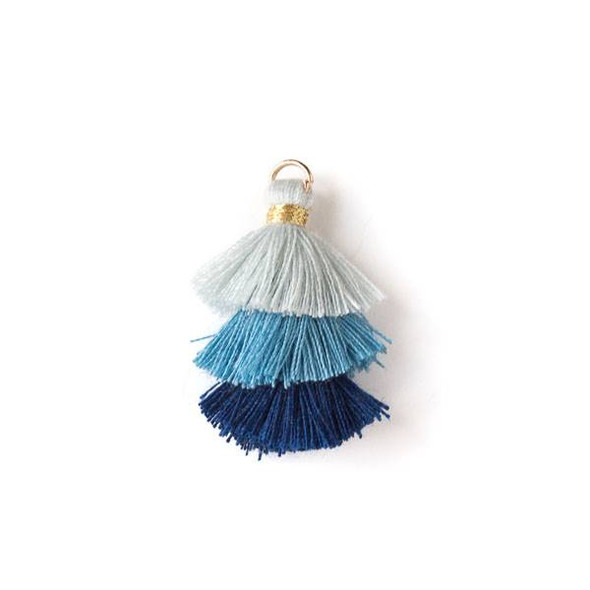 "Navy Blue Ombre 3 Layered 1.5"" Nylon Tassels with a 6mm Gold Jump Ring - 2 per bag, tass7-05"