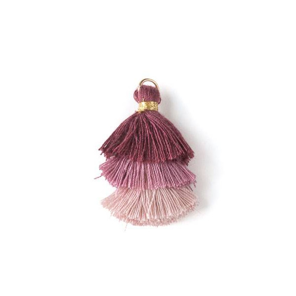 """Mauve Pink Ombre 3 Layered 1.5"""" Nylon Tassels with a 6mm Gold Jump Ring - 2 per bag, tass7-06"""