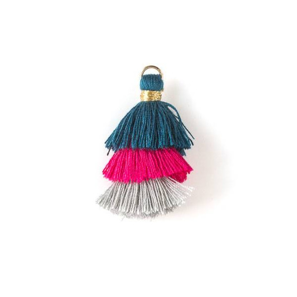 "Hot Pink, Grey, and Blue Ombre 3 Layered 1.5"" Nylon Tassels with a 6mm Gold Jump Ring - 2 per bag, tass7-07"