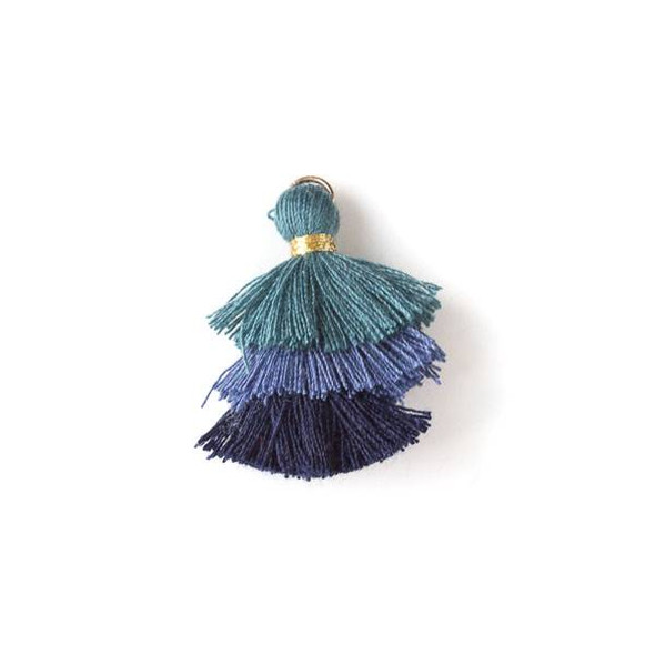 "Peacock Ombre 3 Layered 1.5"" Nylon Tassels with a 6mm Gold Jump Ring - 2 per bag, tass7-08"