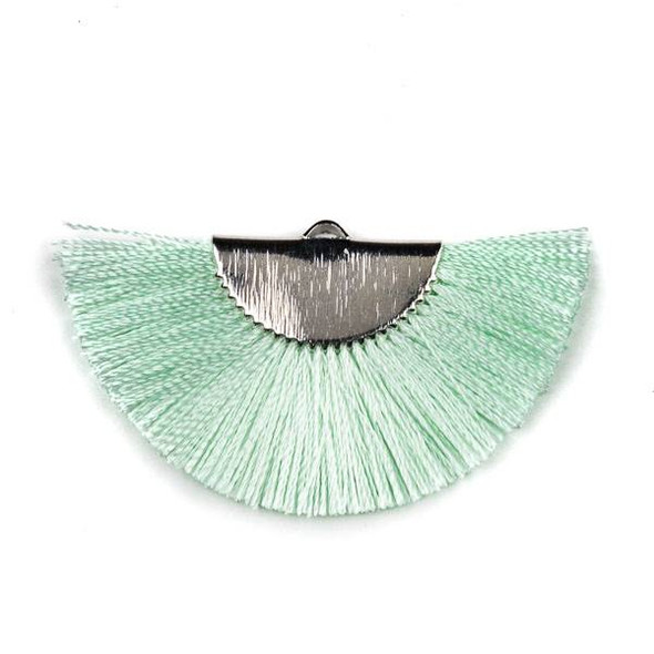 Sea Foam Green 26x45mm Fan Tassel Silver Plated Brass Components - 1 per bag, tascom-CX-02
