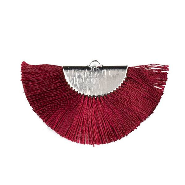Burgundy Red 26x45mm Fan Tassel Silver Plated Brass Components - 1 per bag, tascom-CX-14