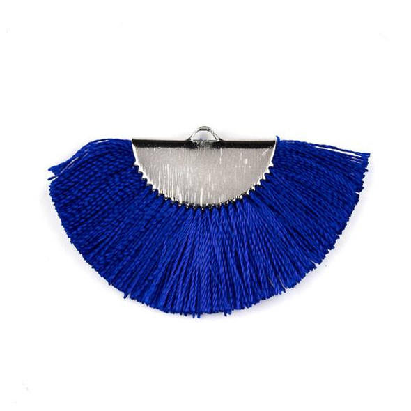 Cobalt Blue 26x45mm Fan Tassel Silver Plated Brass Components - 1 per bag, tascom-CX-15