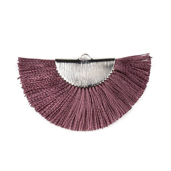Mauve Purple 26x45mm Fan Tassel Silver Plated Brass Components - 1 per bag, tascom-CX-17