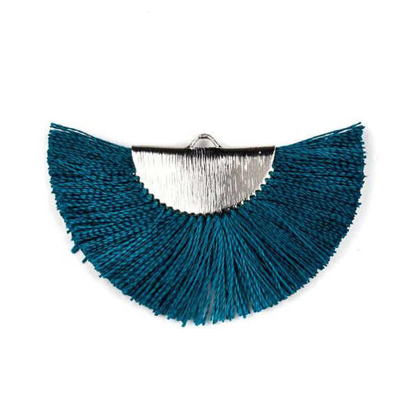 Peacock Blue 26x45mm Fan Tassel Silver Plated Brass Components - 1 per bag, tascom-CX-18