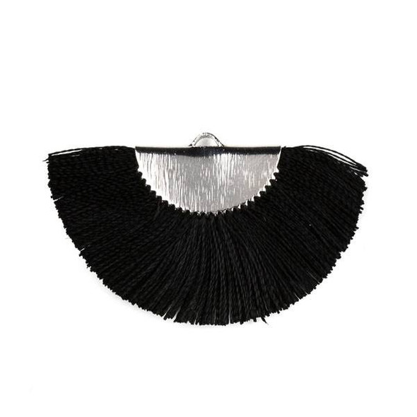 Black 26x45mm Fan Tassel Silver Plated Brass Components - 1 per bag, tascom-CX-20