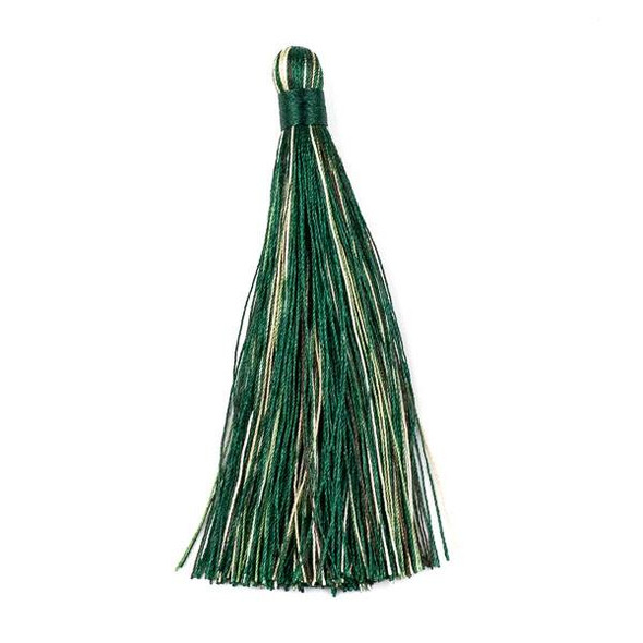 "Multicolor Emerald Green 4"" Nylon Tassels (no loop) - 2 per bag"