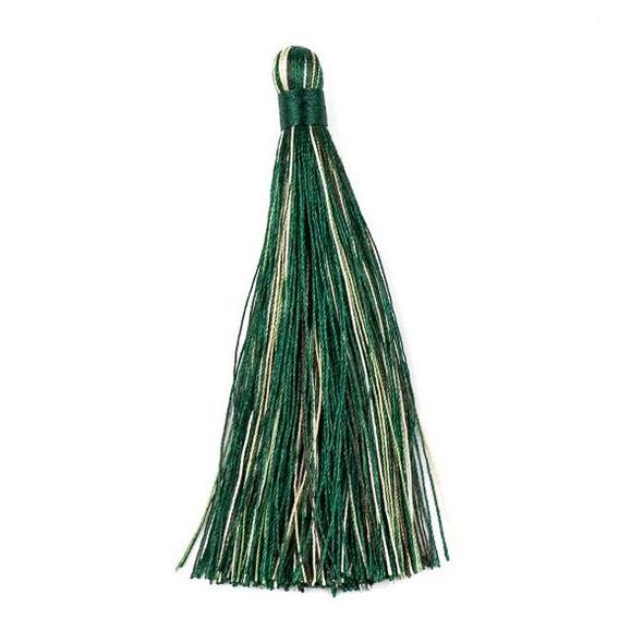 """Multicolor Emerald Green 4"""" Nylon Tassels (no loop) - 2 per bag"""