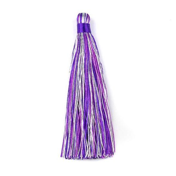 "Multicolor Amethyst 4"" Nylon Tassels (no loop) - 2 per bag"