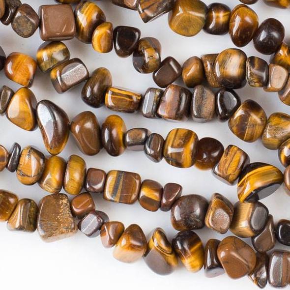 "Yellow Tigereye 5-8mm Chip Beads - 34"" circular strand"