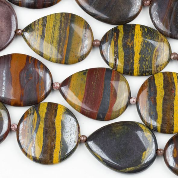 Tiger Iron Jasper 30x40mm Teardrop, 30x40mm Oval, and 35mm Coin Beads alternating with 4mm Rounds Beads - 16 inch strand