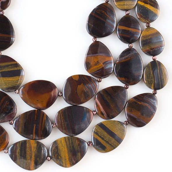 Tiger Iron Jasper 20x30mm-30x40mm Free Form Graduated Slab Beads alternating with 4mm Round Beads - 16 inch strand