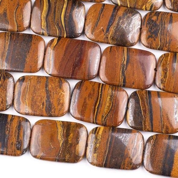 Tiger Iron Jasper 30x40mm Puff Rectangle Beads - 16 inch strand