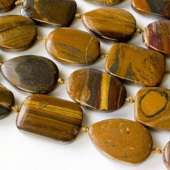 Tiger Iron Jasper 18x25mm Alternating and Knotted Teardrops, Ovals, and Rectangles
