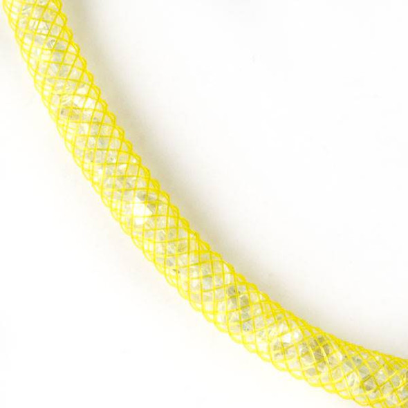 Crystal AB with Yellow Mesh Necklace