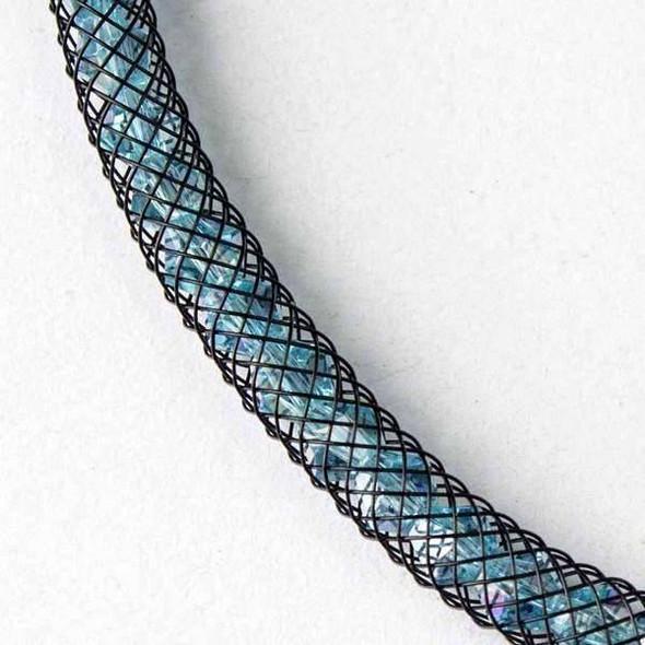 Aqua Crystal AB with Black Mesh Necklace