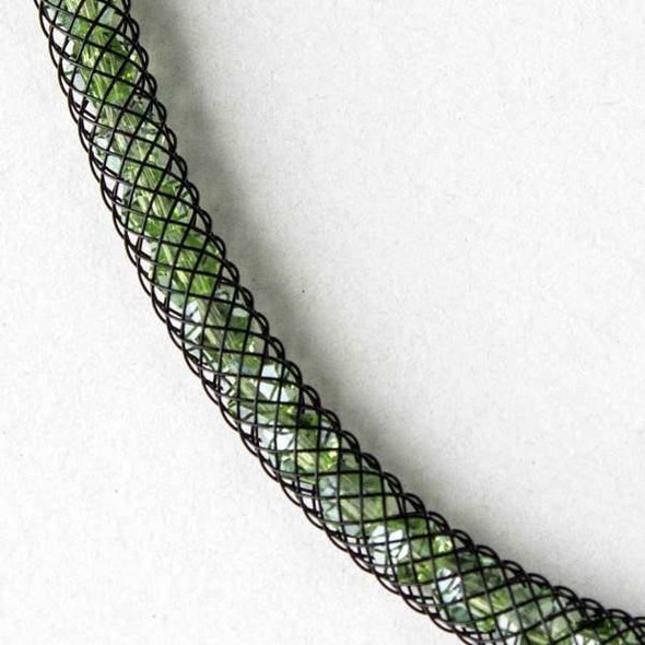 Chrysolite Green Crystal AB with Black Mesh Necklace
