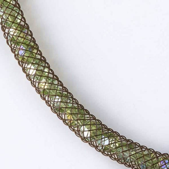 Chrysolite Green Crystal AB with Brown Mesh Necklace