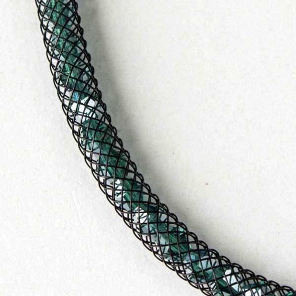Emerald Crystal AB with Black Mesh Necklace