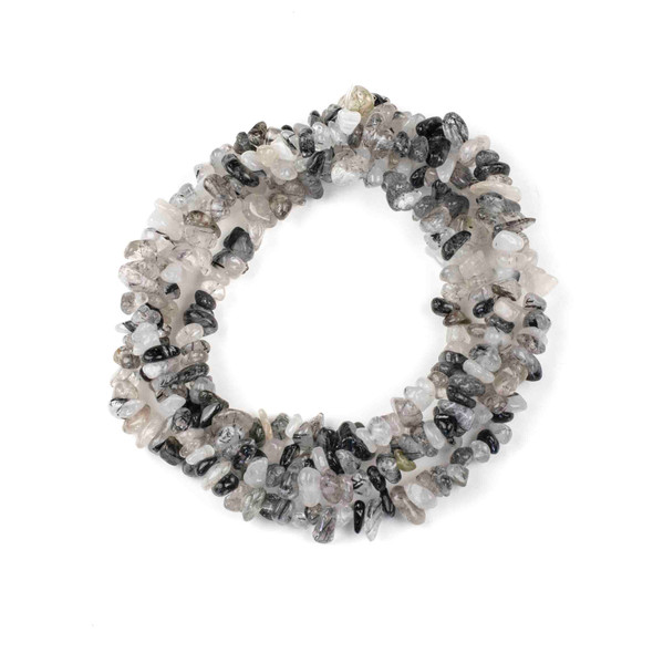 "Black Tourmalated Quartz 5-8mm Chip Beads - 34"" circular strand"