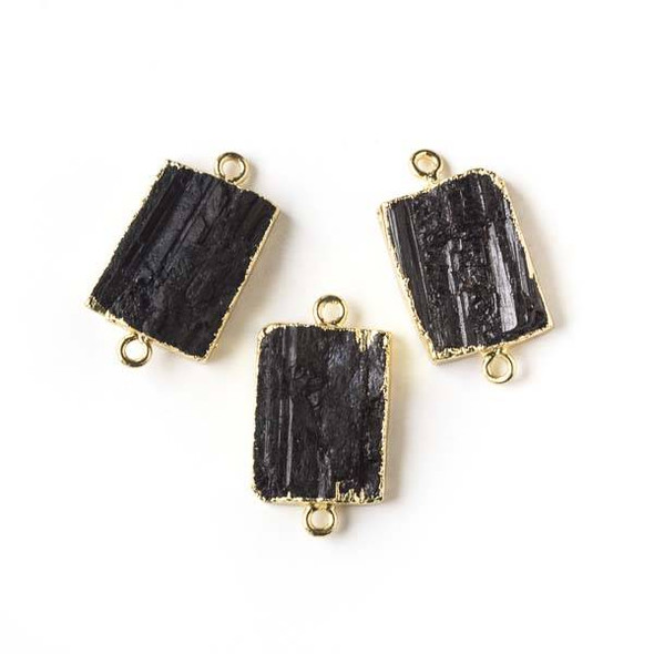 Black Tourmaline approximately 15x28mm Rectangle Link with Gold Edging and Loops - 1 per bag
