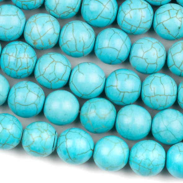 Turquoise Howlite 12mm Round Beads - 15.5 inch strand