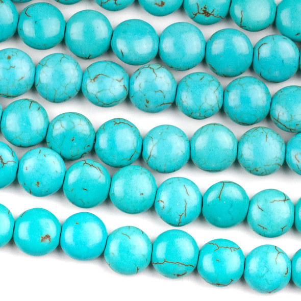 Turquoise Howlite 10mm Coin Beads - 15.5 inch strand
