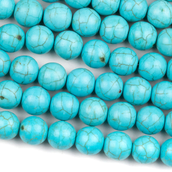 Turquoise Howlite 10mm Round Beads - 15.5 inch strand