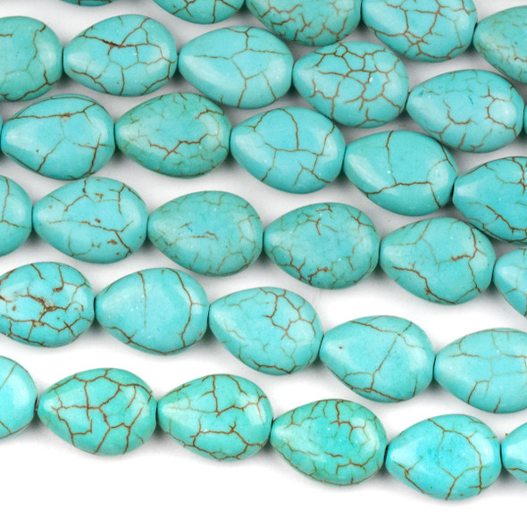 Turquoise Howlite 10x13mm Teardrop Beads - 16 inch strand