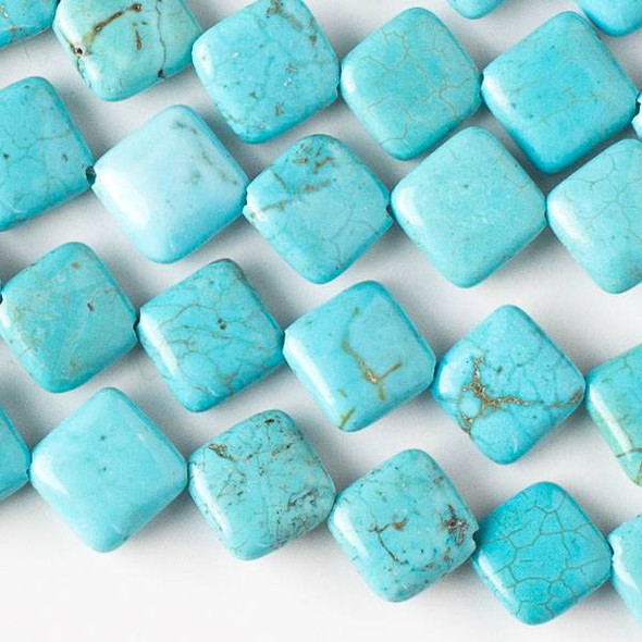 Turquoise Howlite 10mm Diagonal Drilled Square Beads - approx. 8 inch strand, Set A