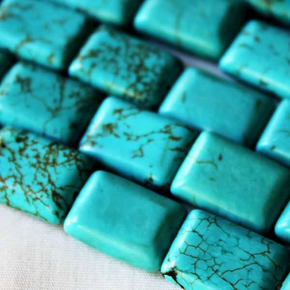 Turquoise Howlite 10x14mm Rectangle Beads - approx. 8 inch strand, Set A