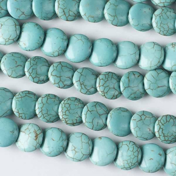 Turquoise Howlite 12mm Overlapping Coin/Lentil Beads - 16 inch strand
