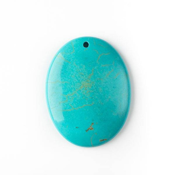 Turquoise Howlite 35x45mm Top Front to Back Drilled Oval Pendant with a Flat Back - 1 per bag