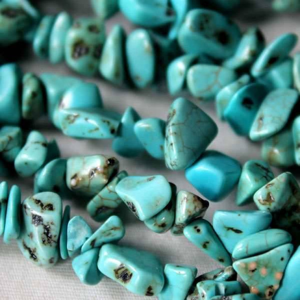 "Turquoise Howlite 5-8mm Chip Beads - 34"" circular strand"