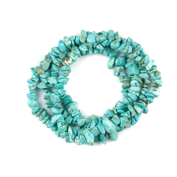 """Turquoise Howlite 5-8mm Chip Beads - 34"""" circular strand"""