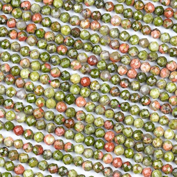 Unakite (Natural Gemstone) 4mm Faceted Round Beads - 15 inch strand